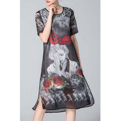 Figure Print Flared Silk Dress