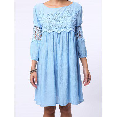 3/4 Sleeve Cut Out Short A Line Dress