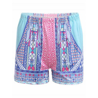 Tribal Print Design High Waist Shorts for Women