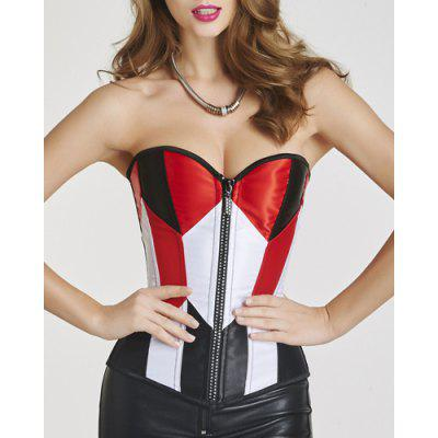 Stylish Zipper Fly Color Block Lace-Up Women's Corset