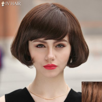 Fluffy Wavy Tail Adduction Siv Hair Capless Fashion Short Side Bang Human Hair Wig For Women 180592607