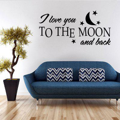 Buy BLACK Fashion Moon and Letters Pattern Wall Sticker For Bedroom Livingroom Decoration for $4.45 in GearBest store