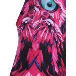 Alluring Spaghetti Strap Feather Print Women's Swimwear - ROSE