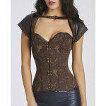 cheap Chic Short Sleeves Jacquard Stud Embellished Women's Bustier
