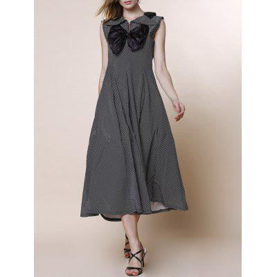 V-Neck Bowknot Spliced High Waist Pleated Midi Dress