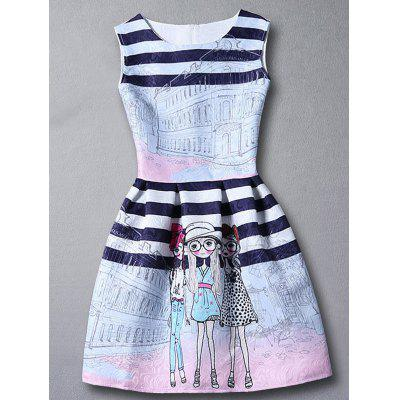 Cute Stripes Figure Pattern Sleeveless Girl's Dress