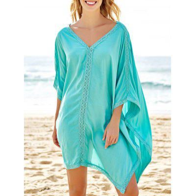Stylish Plunging Neck Spliced 3/4 Sleeve Cover-Up For Women