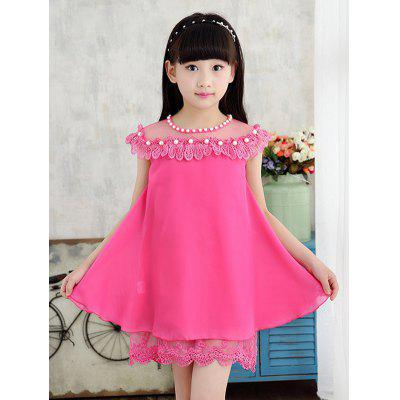 Sweet Sleeveless Beaded Lace Spliced Candy Color Girl's Dress