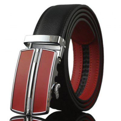 Geometry Shape Red Automatic Buckle Two Color Match Belt For Men
