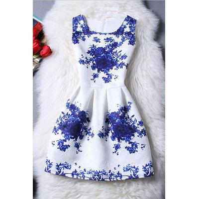Trendy Sleeveless Blue Rose Print Women's Dress