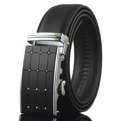Stylish Polka Dot and Plaid Shape Embellished Automatic Buckle Belt For Men