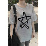 Plus Size Brief Round Neck Half Sleeve  Star Pattern Women's T-Shirt - CINZA