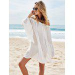 Off Shoulder Flounce Dressy Tunic Cover Up - WHITE