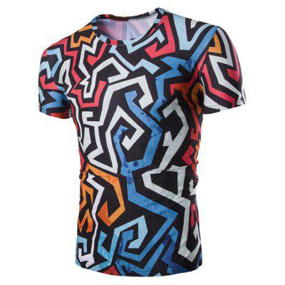 Buy 3D Irregularity Geometric Print Round Neck Short Sleeves T-Shirt For Men, COLORMIX, M, Apparel, Men's Clothing, Men's T-shirts, Men's Short Sleeve Tees for $11.62 in GearBest store