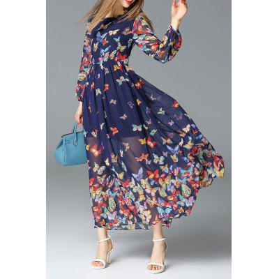 Butterfly Print Maxi Long Sleeve Dress