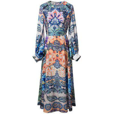 Lantern Sleeve Printed Maxi Dress
