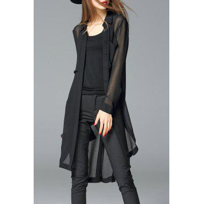 Sheer Chiffon Long Shirt