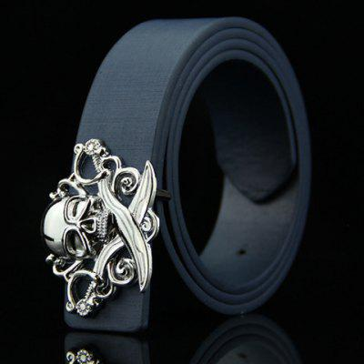 Stylish Skull and Broadsword Shape Embellished Belt For Men