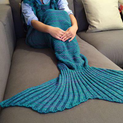Buy TURQUOISE Exquisite Comfortable Drawstring Style Knitted Mermaid Design Throw Blanket for $25.05 in GearBest store