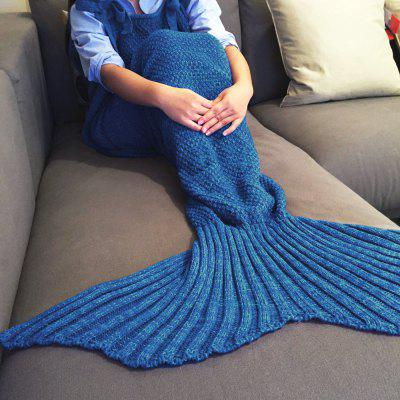 Buy BLUE Exquisite Comfortable Drawstring Style Knitted Mermaid Design Throw Blanket for $23.06 in GearBest store