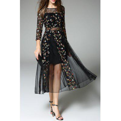 Tiny Floral Embroidered Sheer Dress