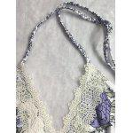 Buy Sweet Plunging Neck Woven Design Lace-Front Floral Print One-Piece Swimwear Women M WHITE