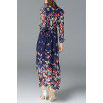 Buy Butterfly Print Maxi Long Sleeve Dress L BLUE