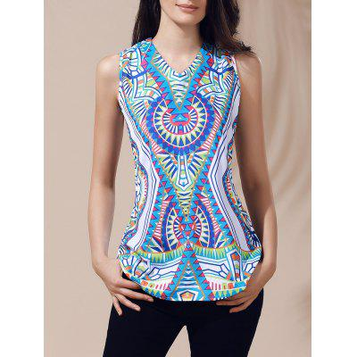 Ethnic V-Neck Printed Cut Out Top For Women