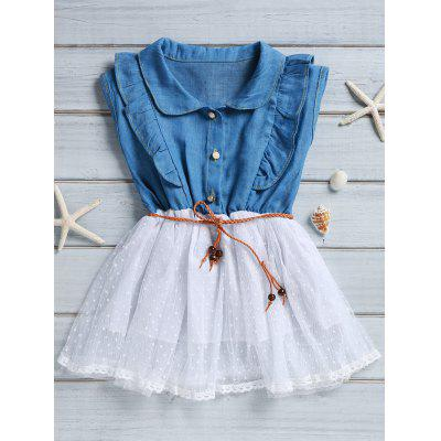 Sweet Sleeveless Flounced Polka Dot Spliced Denim Dress For Girl
