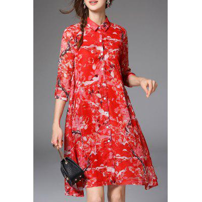 Flares Pocket Design Red Shirt Dress