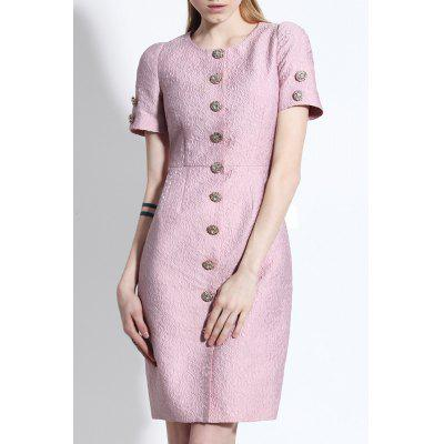 Button Up Jacquard Sheath Dress