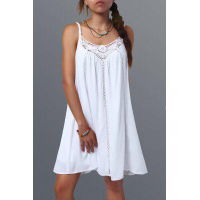Spaghetti Strap Lace Splicing Sleeveless Shift Babydoll Dress