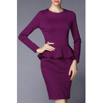 Long Sleeve Knee Length Peplum Dress