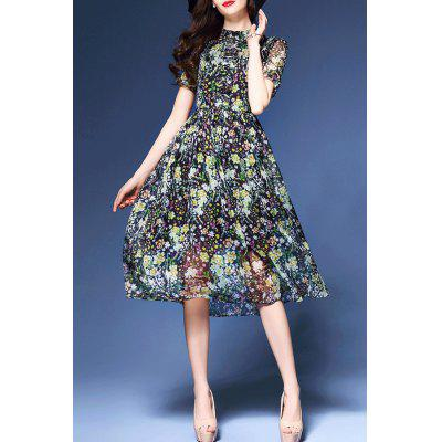 Tiny Floral Print Stand Collar Dress