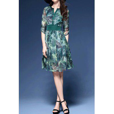 Jungle Print Chiffon Dress