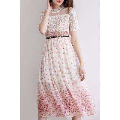 See-Through Lace Spliced Dress