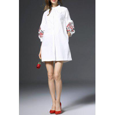 Lantern Sleeve Embroidered Shirt