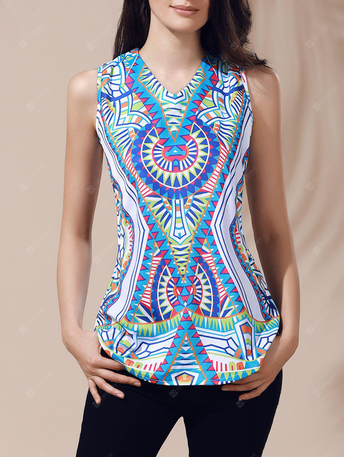 Ethnic Top con scollo a V stampato cut-out per le donne