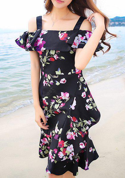 Sweet Off-The-Shoulder Floral Print Women's Dress