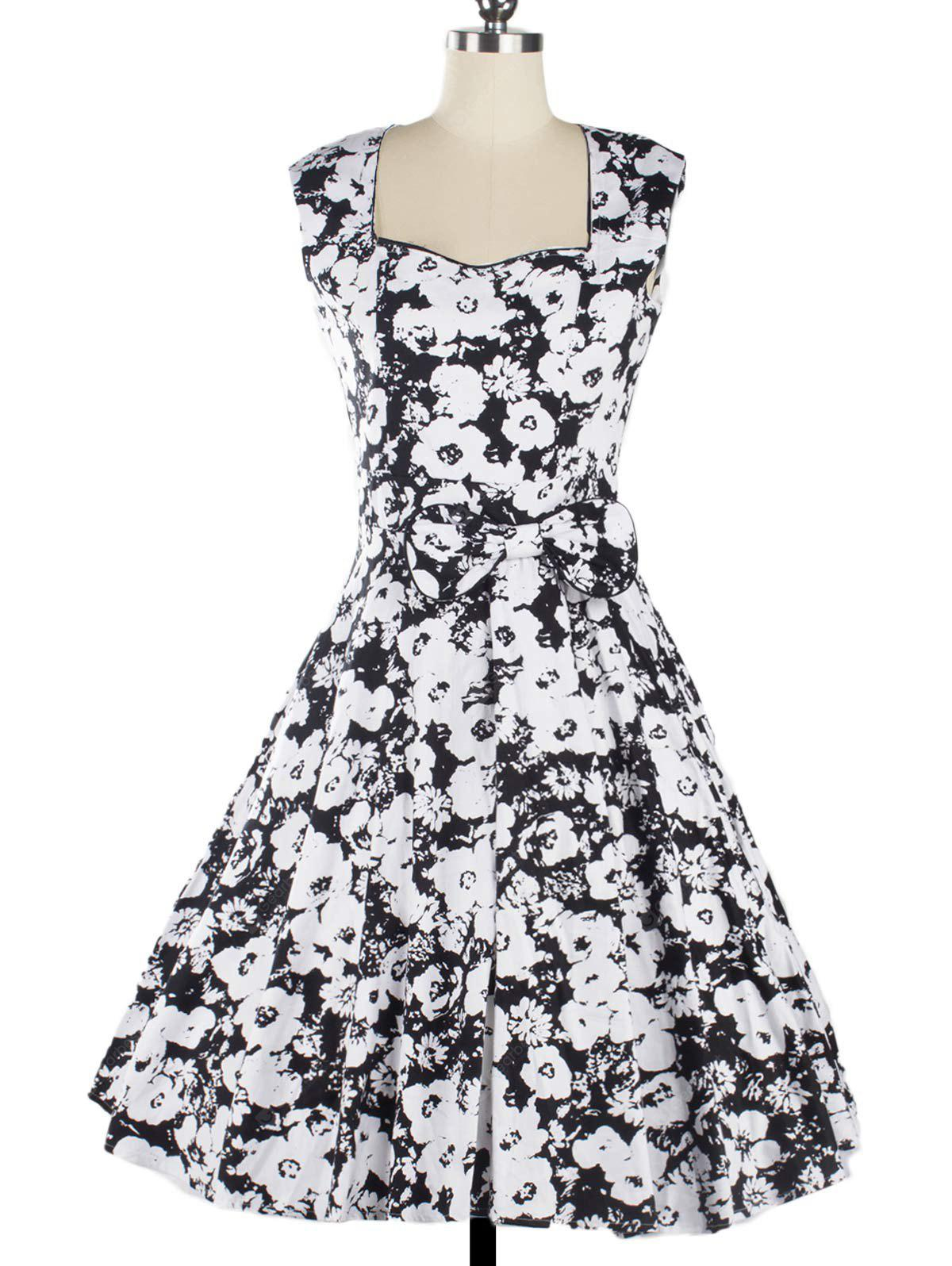 Vintage Swing Floral Knee Length Fit and Flare Dress