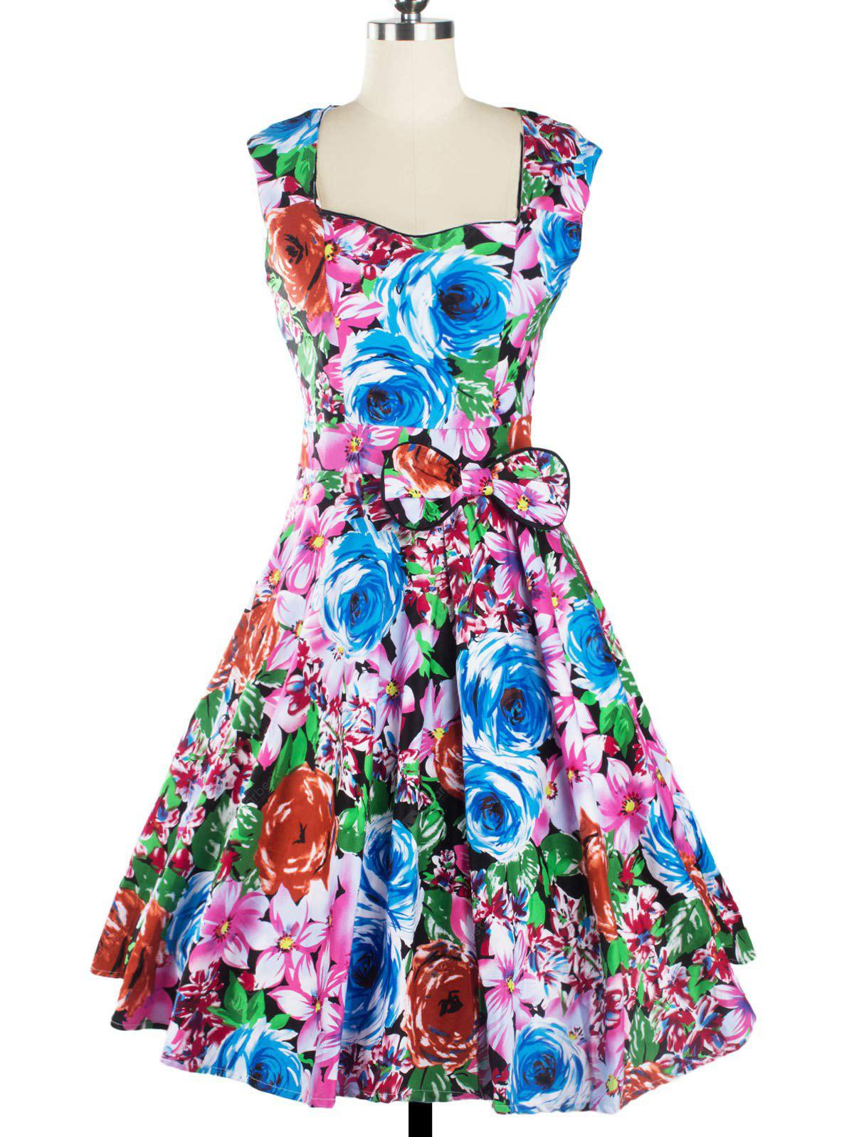 Floral Sweetheart Neck Knee Length Flare Dress