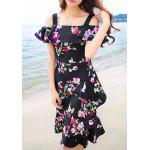 Sweet Off-The-Shoulder Floral Print Women's Dress - BLACK