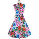 Floral Sweetheart Neck Knee Length Flare Dress - COLORMIX