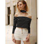 Chic Turtleneck Long Sleeve Striped Zippered Crop Top For Women - BLACK