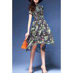 Tiny Floral Print Stand Collar Dress deal