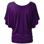Bat Sleeve Jewel Neck Plain T-Shirt - PURPLE