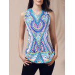 Ethnic Top con scollo a V stampato cut-out per le donne - VERDE