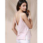 Casual Solid Color Backless Slit Cami Top For Women - PINK