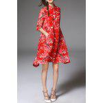 best Flares Pocket Design Red Shirt Dress