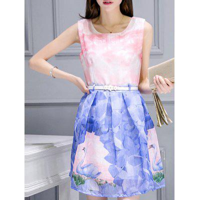 Belted Sleeveless Organza Swan Print Dress